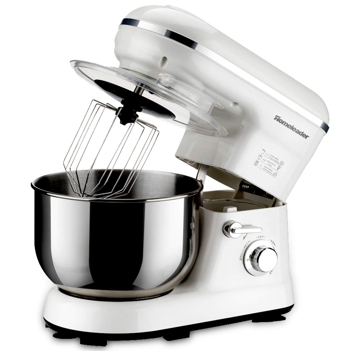 Homeleader Power Tilt-Head Stand Mixer, Food Mixer, Kitchen Electric Mixer with Double Dough Hook, Whisk, Beater, Splash Guard, Multiple speeds, 5 Quart Stainless Steel Bowl, White, 800W