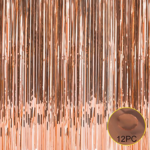 Foil Fringe Metallic Curtain Backdrops - With Balloon Sticks 3FTX8FT Tinsel Shiny Curtains Perfect for Photo Booth Party/Window/Door Decorative Fringe Curtains,1 Pair Rose (Silver Nice Rose)