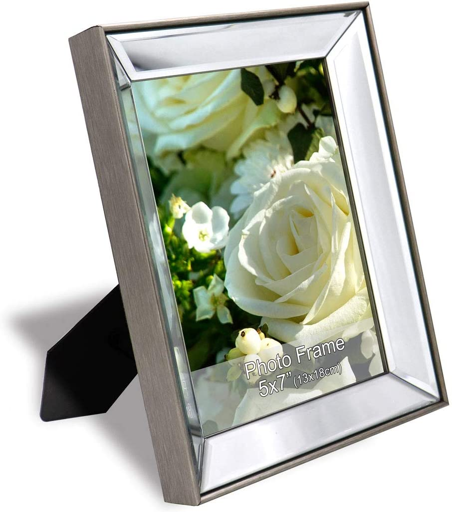 GIMORRTO Mirror Picture Frame for 5×7 Beveled Mirrored Silver Photo Frame with Metallic Color Border for Wall Decor, Tabletop, Photo Gallery …