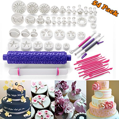 54pcs Fondant Cake Decoration Tools Kit Sugarcraft Icing Mold Mould Cutters Bakeware Gumpaste Modelling Tool, Rolling Pin Smoother Embosser Flower Scissors Accessories Supplies