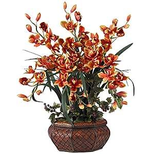 SKB Family Large Cymbidium Silk Flower Arrangement Burgundy Elegance Home Natural Floral Decor