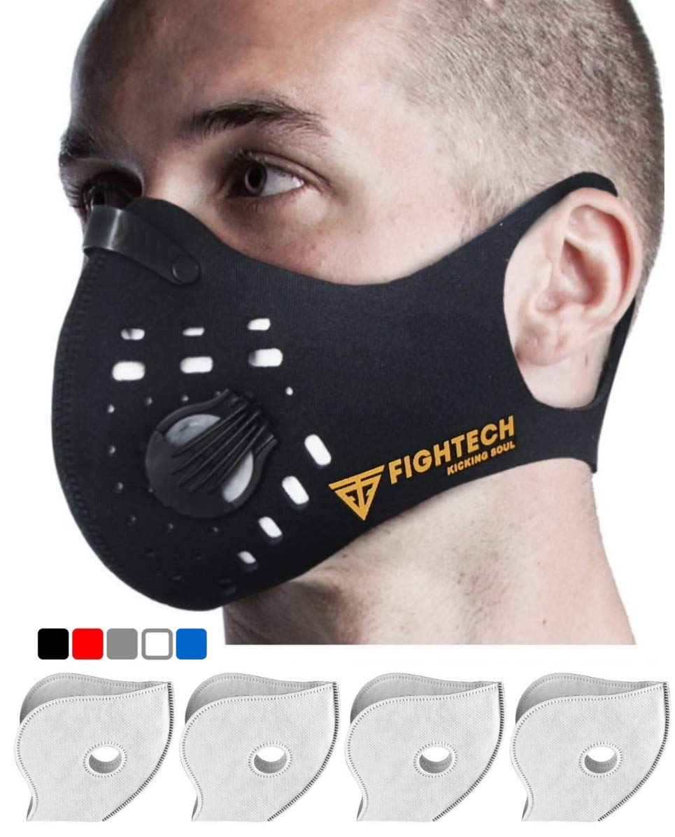 Fightech Dust Mask | Mouth Mask Respirator with 4 Carbon N99 Filters for Pollution Pollen Allergy Woodworking Mowing Running | Washable and Reusable Neoprene Half Face Mask for Dust and Outdoor (BLK)