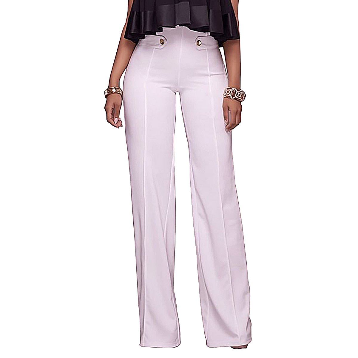 Women's High Waisted Wide Leg Workwear Trousers Long Pants With Buttons QiuLan