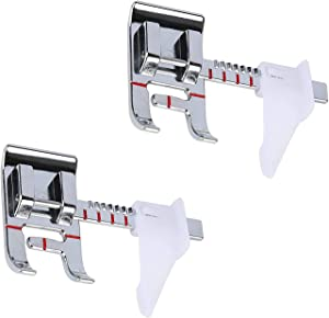 2 Pcs Premium Sewing Press Feet,Adjustable Seam Guide Presser Foot for Brother,Babylock, Singer,Janome, Juki, Kenmore, Elna,Toyota,New Home,Simplicity and Low Shank Sewing Machines