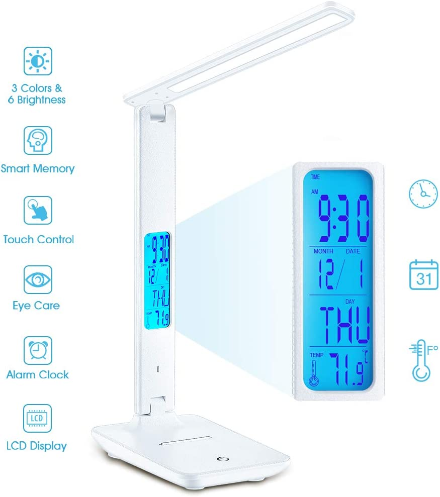 Desk Lamp, Wireless ​LED Desk Lamp​ with Smart Features (Clock, Alarm, Date, Temperature) - Adjustable, Foldable ​Table Lamp, 3 Levels of Dimmable ​Lighting​, Suitable for ​Office​, ​Bedroom​, Study