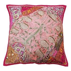 Caso Cojín Home Décor Diseñador Handmade Patch Work Pink Square Pillow Case Cover Art india 18 pulgadas