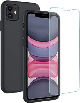 EasyAcc Funda y Protector de Pantalla para iPhone 11 Silicona Líquida Carcasa Suave y Delgada con Forro de Microfibra Case y Alta Definicion Cristal Vidrio Premium 9H Dureza: Amazon.es: Electrónica