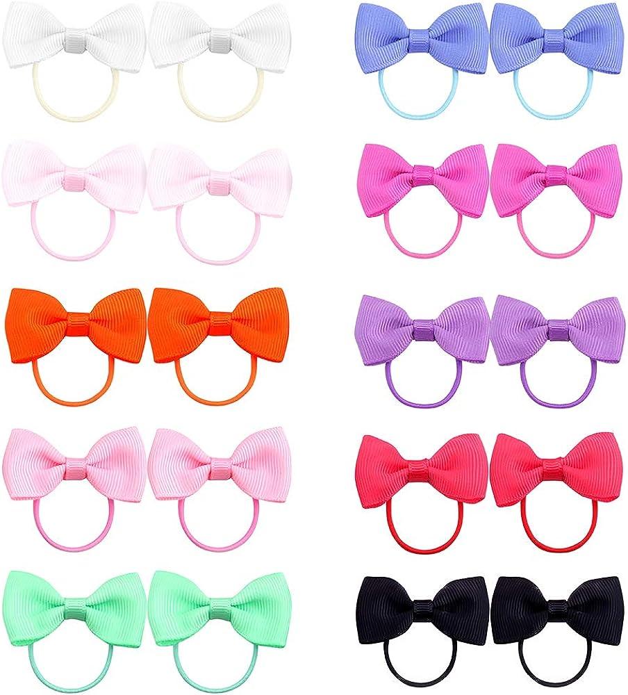 Belle Beau Baby Girls Bow Elastic Ties,Ponytail Holders,Hair Bands,Hair Elastics,Value Set