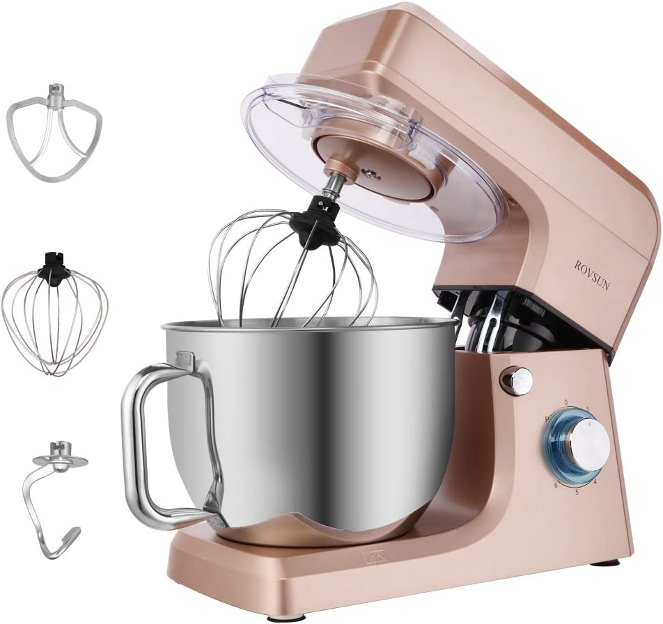 ROVSUN 7.5 Quart Stand Mixer, 660W 6-Speed Electric Tilt-Head Kitchen Food Mixer with Stainless Steel Bowl, Dough Hook, Beater, Whisk (Champagne)