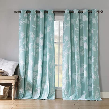 Kensie Aster Floral Cotton Blend Grommet Top Window Curtains For Living Room Bedroom Assorted Colors Set Of 2 Panels 54 X 84 Inch Teal Home Kitchen