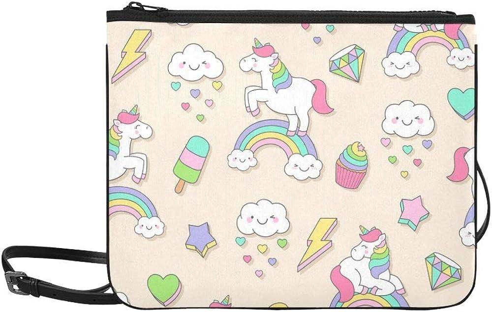 Lindo Pastel Unicornio Doodle Elementos Personalizado Alto grado de nylon Delgado bolso de embrague Bolsa de cuerpo cruzado Bolso de hombro