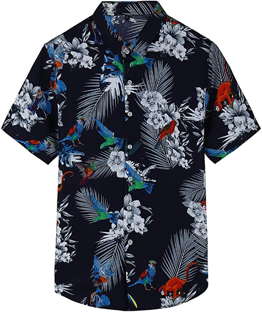 Short Sleeve Men Shirt Parrot Palm Print Summer Beach Shirt Floral Shirts