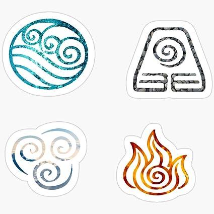 Amazon Com Belinzstore Avatar The Last Airbender Element Symbols Stickers 3 Pcs Pack Toys Games