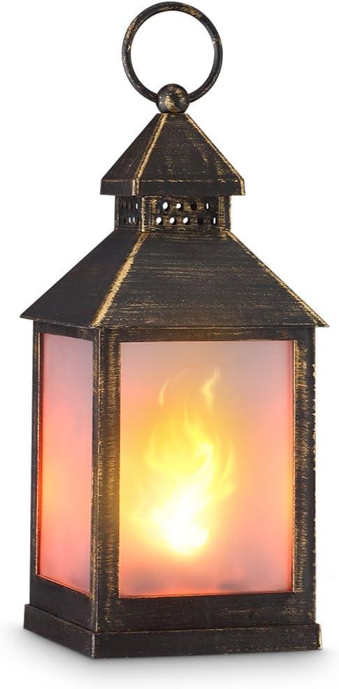 Suesshop 1 Pcs Light Vintage Style Lantern Flickering Flame Effect LED Tabletop Lantern Hanging Lantern Decorative Candle Lantern