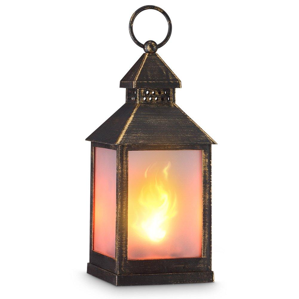 """zkee 11"""" Vintage Style Decorative Lantern,Flame Effect LED Lantern,(Golden Brushed Black,4 Hours Timer) Indoor Lanterns Decorative,Outdoor Hanging Lantern,Decorative Candle Lanterns"""