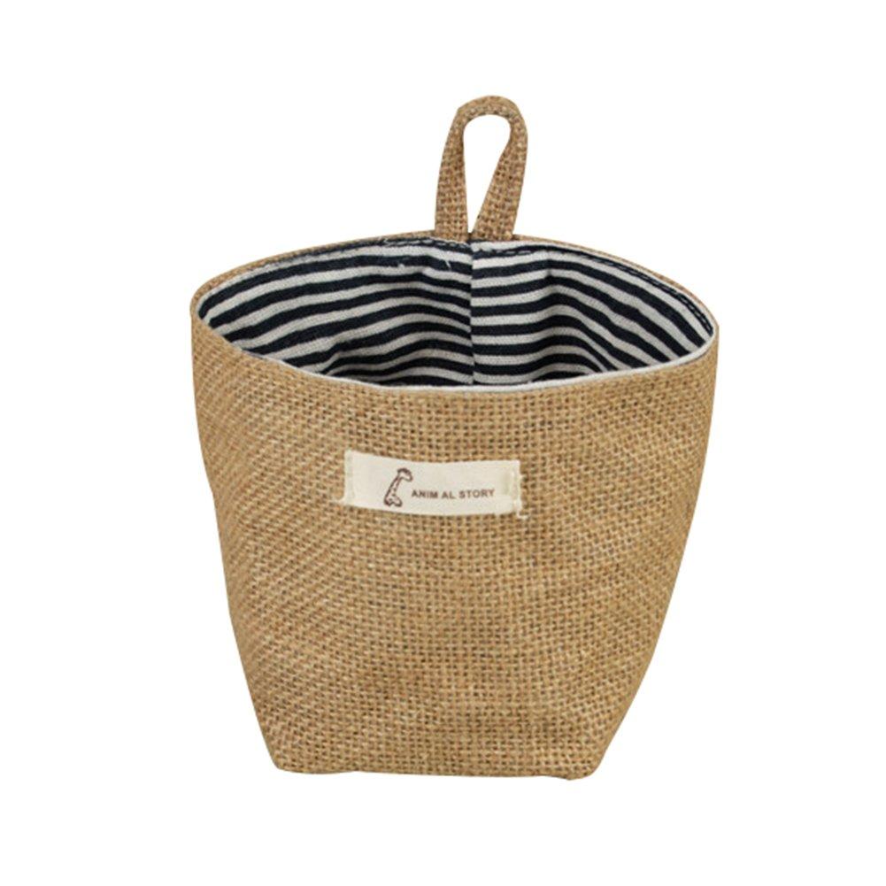 LAAT Hanging Storage Bag Linen Basket Cotton Storage Pouch Bag Organizer Wall Size 14 × 12.5cm (Blue dot)