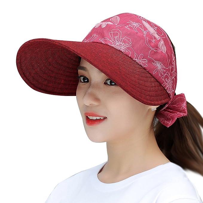 SH Sombrero De Visera Sombrero De Verano Ajustable Anti-UV para Mujer Verano  12cm Sombrero b01a20fa6fe
