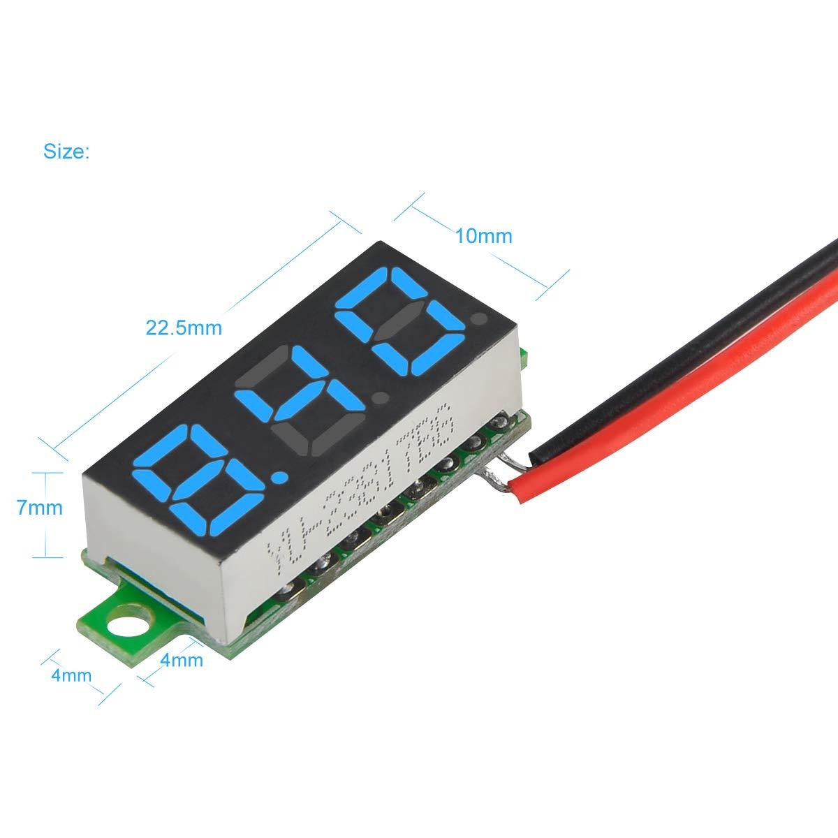 MakerFocus 5pcs Mini Digital DC Voltmeter 0.28 Inch Two-Wire 2.5V-30V Mini Digital DC Voltmeter Voltage Tester Meter 5 Colours by MakerFocus (Image #6)
