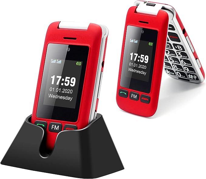 Artfone Flip Teléfono móviles para Personas Mayores con Teclas Grandes con Pantalla de 2.4 Pulgadas, Fácil de Usar para Ancianos, con MMS, SOS Botón, ...