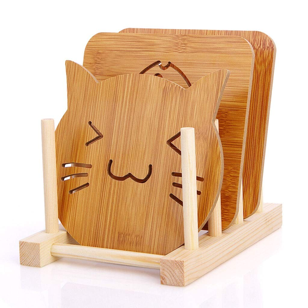 Coasters with Holder Coaster Bamboo Insulation Pad Household Coaster Bowl Mat Kitchen Wooden Anti-hot Pad Placemat 8 Cup Mat +1 Base Cup Holder Coasters by Zunruishop