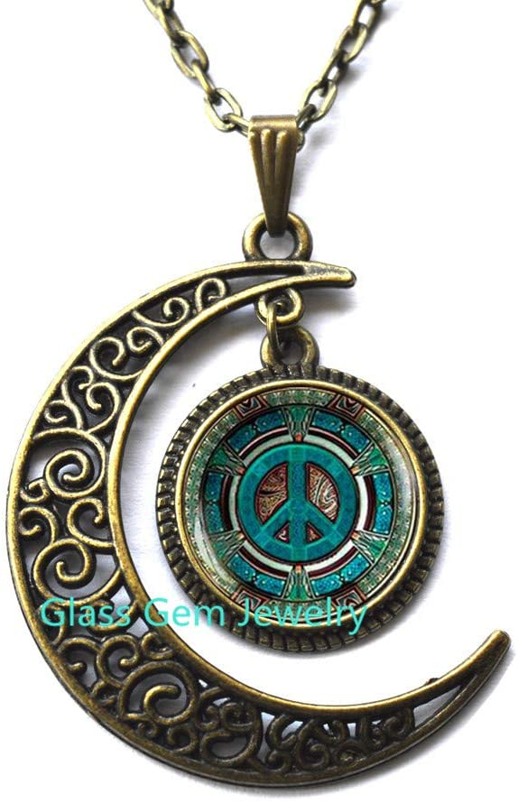 MoonNecklaceMoonPendant,Hippie Necklace, Hippie Pendant, Hippie Jewelry, Peace Sign Necklace, Peace Jewelry, Peace Pendant, Men's Necklace, Hippie Men's Jewelry: Sports & Outdoors