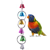 Keersi Colourful Ringer Bells Swing Toy for Bird Parrot African Greys Macaw Budgies Parakeet Cockatiels Cockatoo Conure Lovebird Finch Cage Perch (Type B)