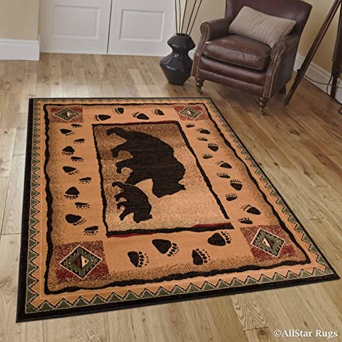 Allstar 8×10 Mocha Cabin Rectangular Accent Rug with Chocolate and Espresso Wildlife Bear and Bear Paw Print Design 7 6 X 10 5