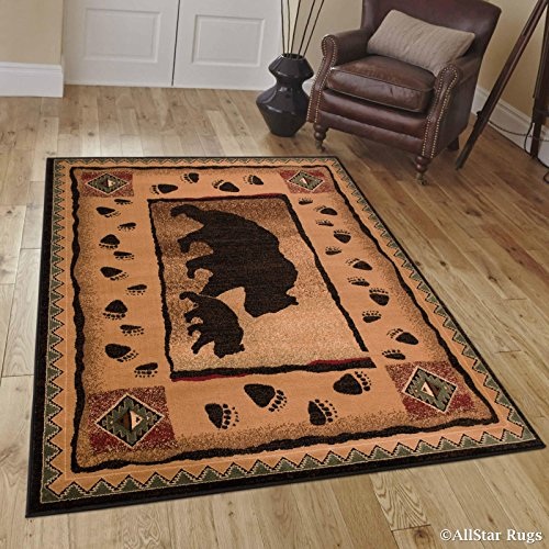 (Allstar 4x5 Mocha Cabin Rectangular Accent Rug with Chocolate and Espresso Wildlife Bear and Bear Paw Print Design (3' 9