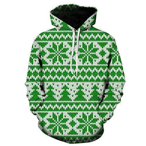 KpopBaby Autumn Winter Christmas Printing Long Sleeve Hooded Sweatershirt Blouse (Green 2, M) ()