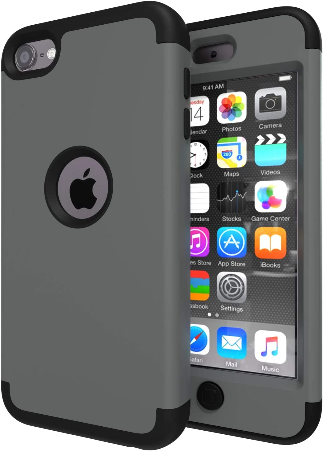 iPod Touch 7 Case,iPod Touch 6 Case,SLMY(TM) Heavy Duty High Impact Armor Case Cover Protective Case for Apple iPod Touch 5/6/7th Generation Deep Gray