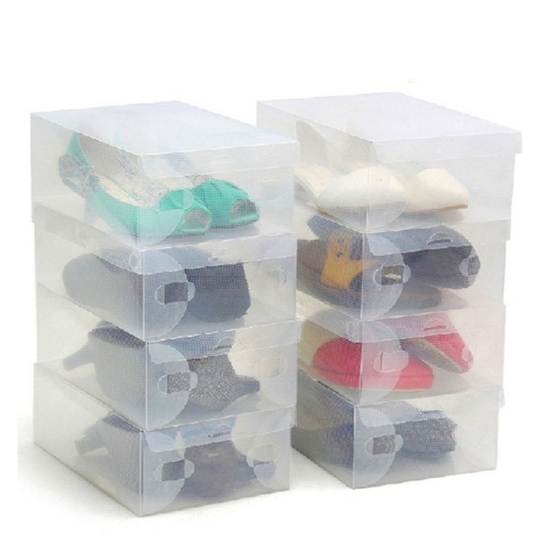 20 Pack of Clear Corrugated plastic Shoe storage boxes for Ladies Men-Stackable and Foldable-Plastic and Clear Boxes by Kurtzy,Stackable Shoe Storage Box - Ideal for Travel