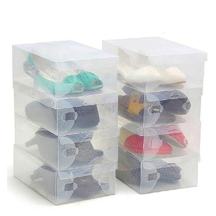 Zapatos apilable plegable Organizador transparente para hombres y mujeres Pack de 20 cajas Ahorre zapatos transparentes de plástico corrugado por ...