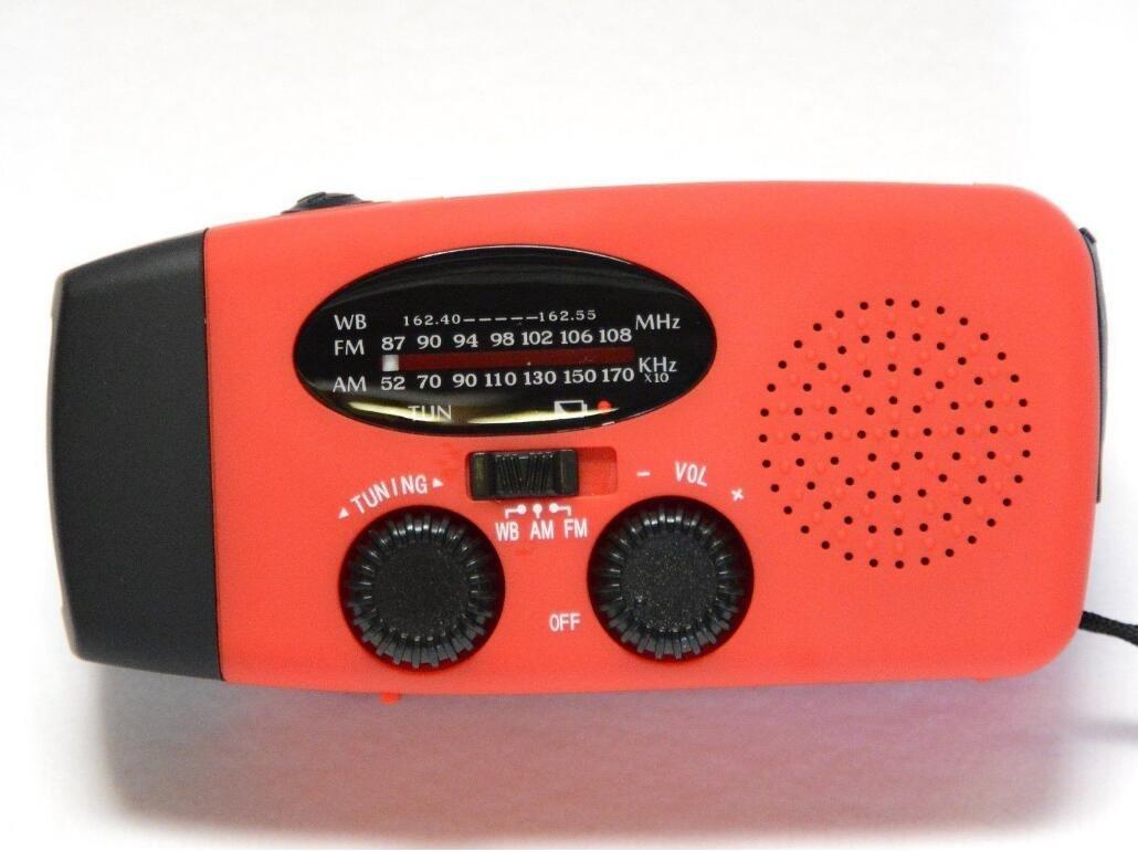 Weather Radio LED Flashlight Dynamo Solar Hand Crank Self Powered AM/FM NOAA Emergency Smartphone Charger Power Bank, red