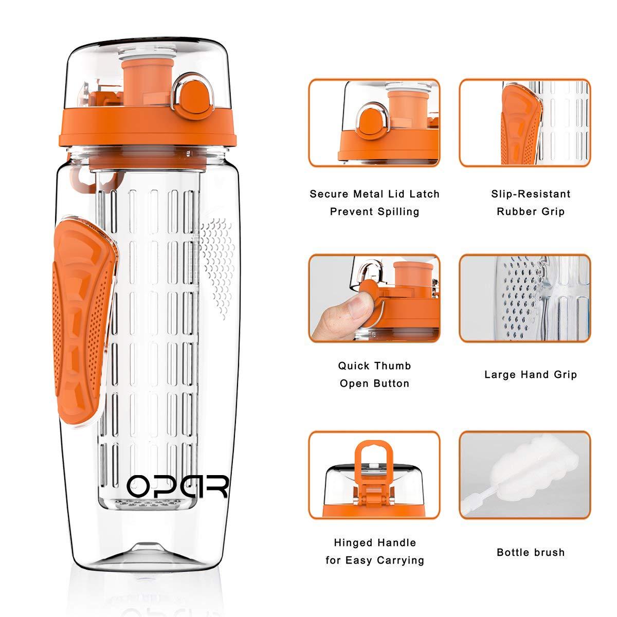 Opard Bottiglie Infusore 1 Litro Coperchio Flip Top Bottiglia Acqua  Infusore Frutta Senza BPA Tritan Frutta Acqua Idratazione Bottiglia con ... 469951755802
