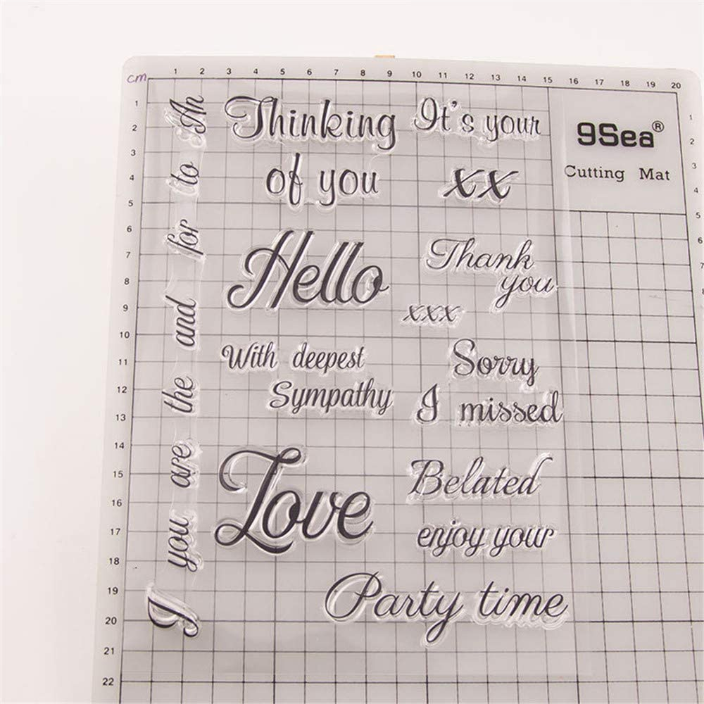 Thinking of You Love Thank You Party Time Sentiment Phrase Clear Stamps for Card Making Decoration and DIY Scrapbooking Tools