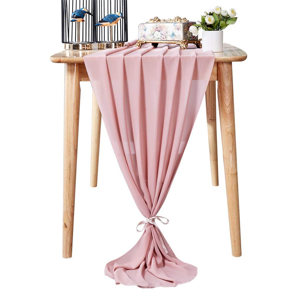Aviviho 10ft Dusty Rose Chiffon Table Runner for Wedding Decor Boho Party Bridal Shower Baby Shower Table Decorations