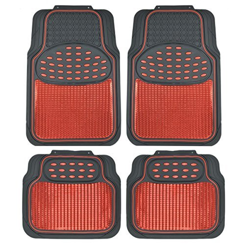 - BDK MT614RDAMw1 Metallic Rubber Floor Mats for Car SUV & Truck - Semi Trimmable, 2 Tone Color Heavy Duty Protection(Red/Black)