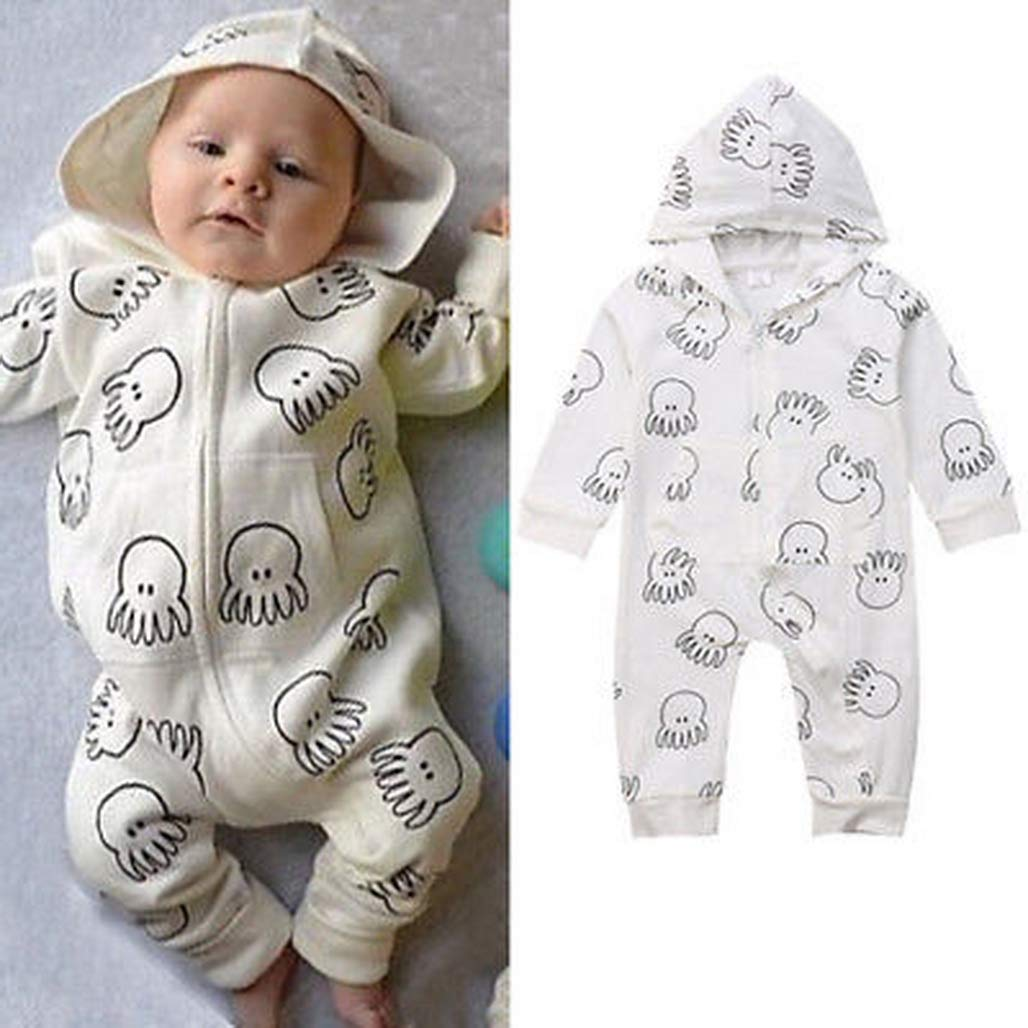 Bone Soft Toddler Baby Boy Girl Cotton Romper Long Sleeve Jumpsuit Hooded Outfits Warm Long Sleeve Clothes 0-3T B