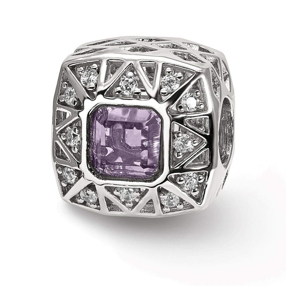 Reflection Beads Sterling Silver Purple Accent and CZs Cut Out Square Bead
