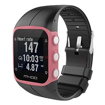 KOBWA Polar M400/M430 - Correa de silicona para reloj deportivo Polar M400 y M430, color negro: Amazon.es: Deportes y aire libre