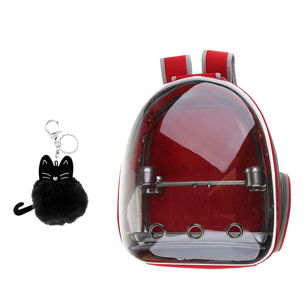 Flameer Clear Cover Parrot Bird Carrier Backpack with Perch, Feeder, Cat Pendant Red by Flameer