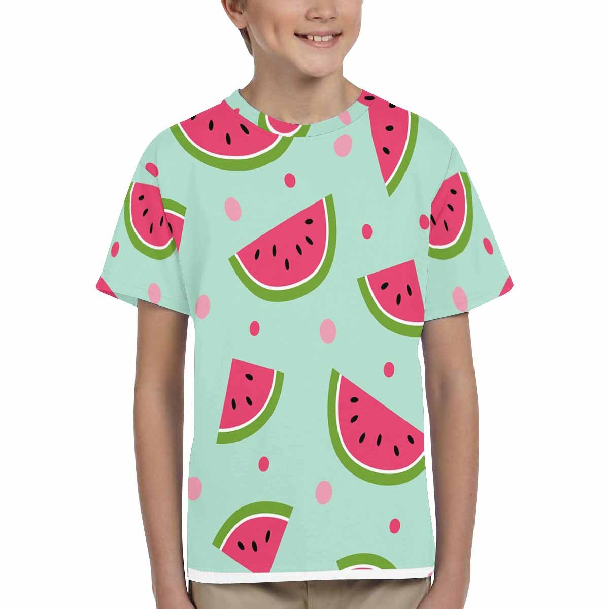 INTERESTPRINT Cute with Watermelons and Dots Kids T-Shirt XS-XL