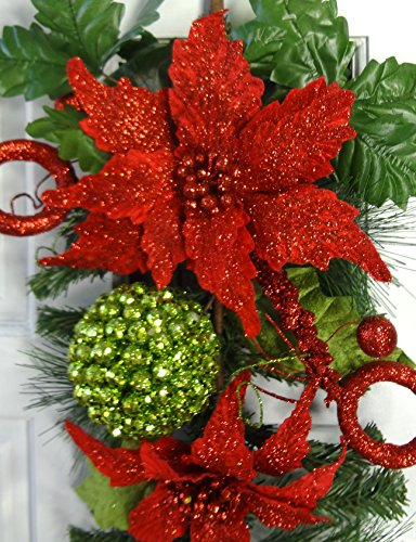 24'' Christmas Poinsettia Teardrop by V-Max Floral Decor (Image #3)
