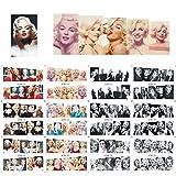 12 sets Hollywood actress Marilyn Monroe playboy pin-up girl NAIL ART DECALS vintage black and white norma jean photo water transfer nail stickers tattoo nail design acrylic nail art vinyls MALU TATAU