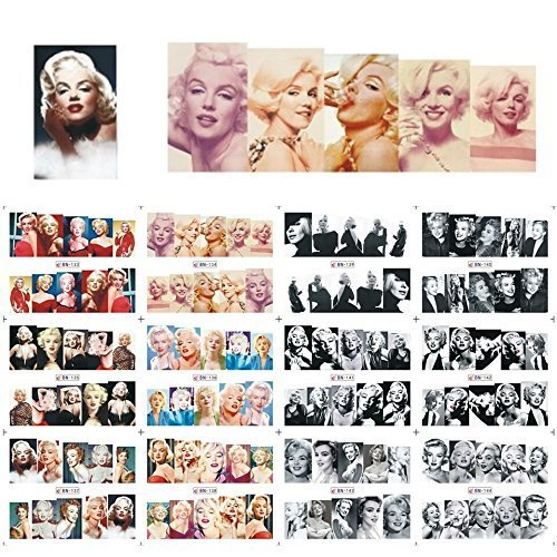 12 sets Hollywood actress Marilyn Monroe playboy pin-up girl NAIL ART DECALS vintage black and white norma jean photo water transfer nail stickers tattoo nail design acrylic nail art vinyls MALU TATAU by Tempea