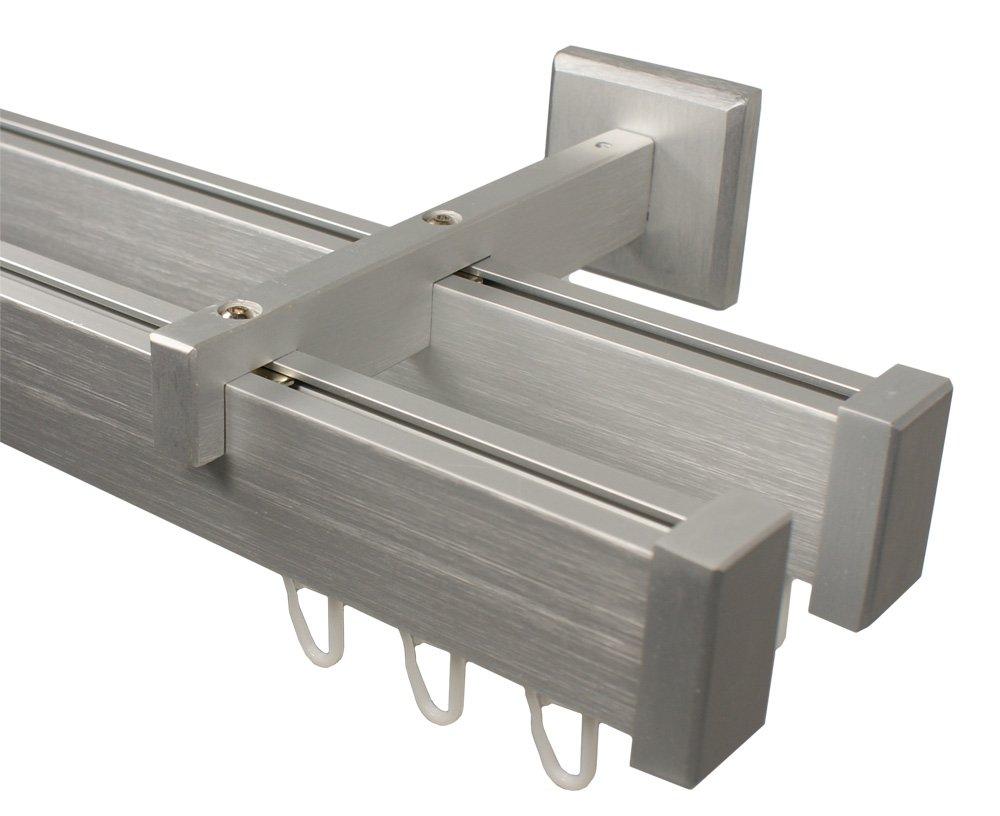 Innenlauf Gardinenstange 2 – läufig aus Aluminium im Eckdesign, alufarbig 320 cm (2 x 160 cm)