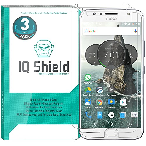 Moto G5s Plus Screen Protector (3-Pack), IQ Shield Tempered Ballistic Glass Screen Protector for Moto G5s Plus 99.9% Transparent HD and Shatter-Proof Shield