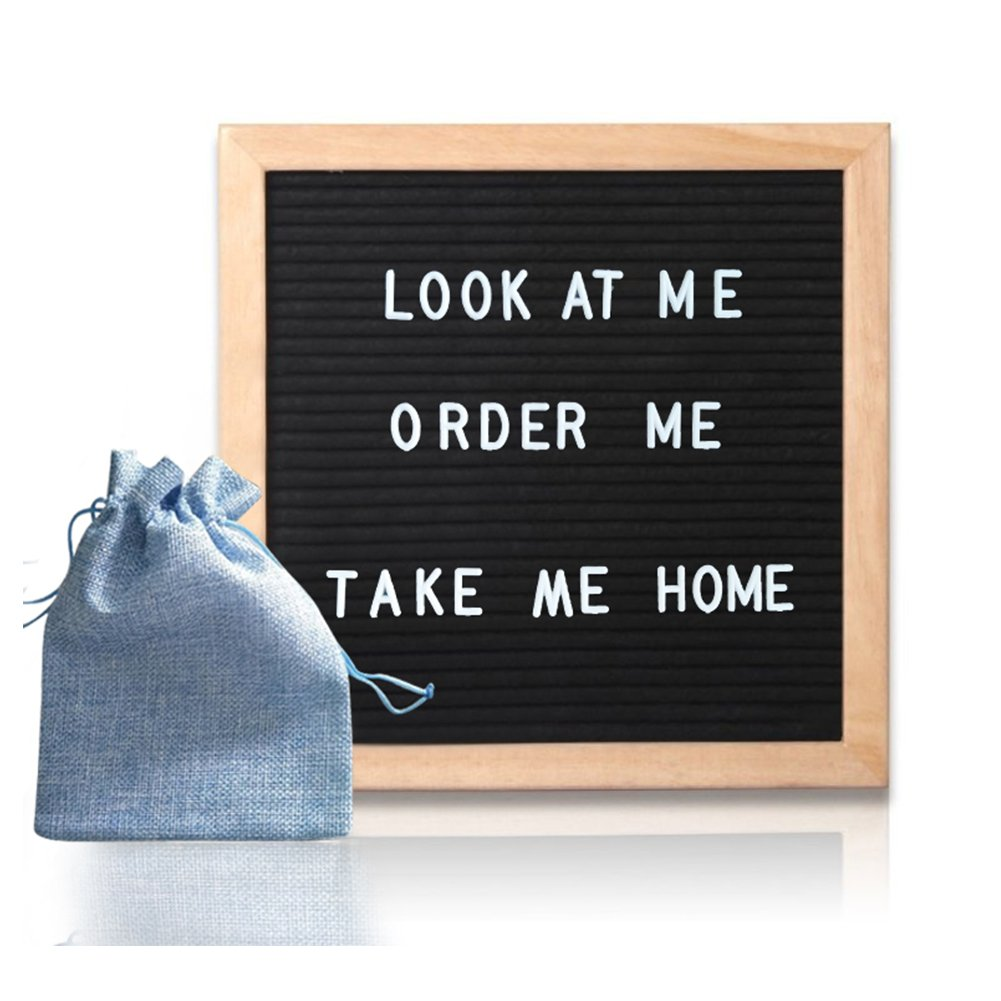 Black Felt Letter Board Signs - Changeable message board as Gift For Mom Or Lover with 320 White Plastic letters Wood 10 x 10 inch Oak Frame Available For Home,Office,Outdoor