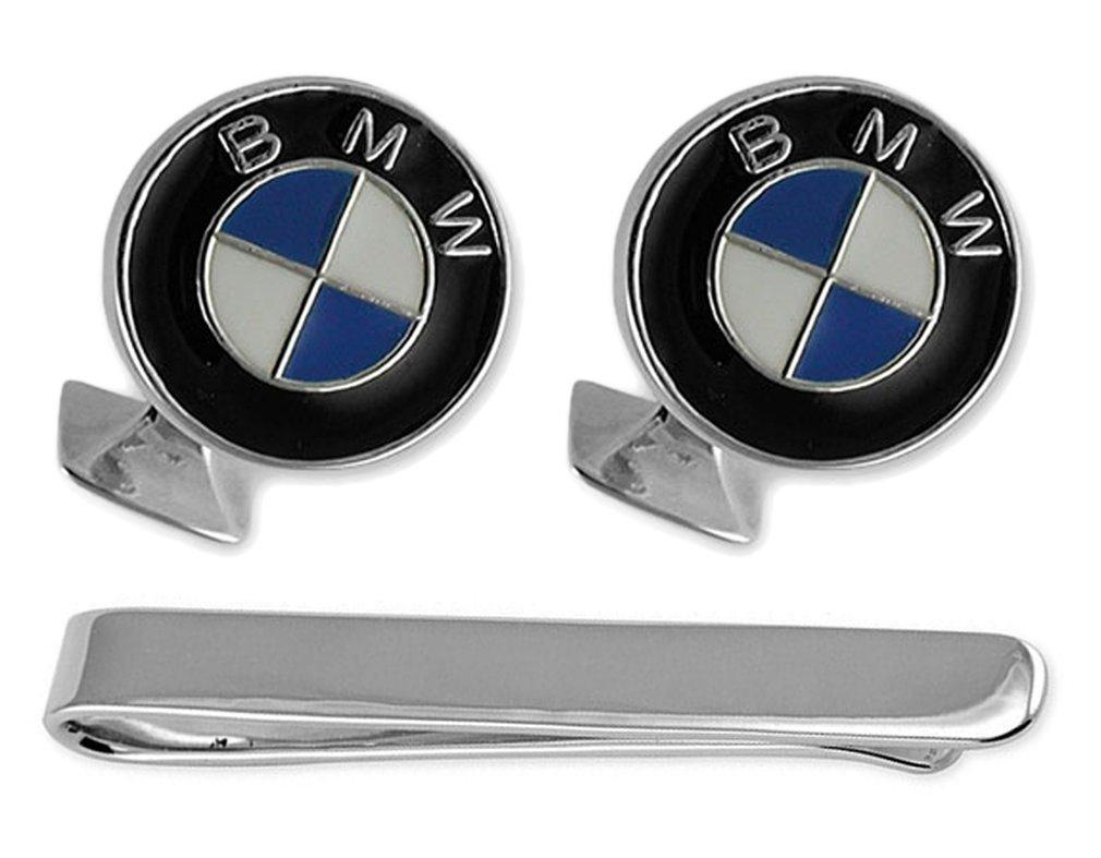 Sterling silver enamel BMW Cufflinks Tie Clip Box Set