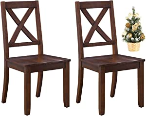 Sturdy Better Homes and Gardens Home & Kitchen Furniture Maddox Crossing Dining Chair with Christmas Tree, Mocha Bundle, Set of 2